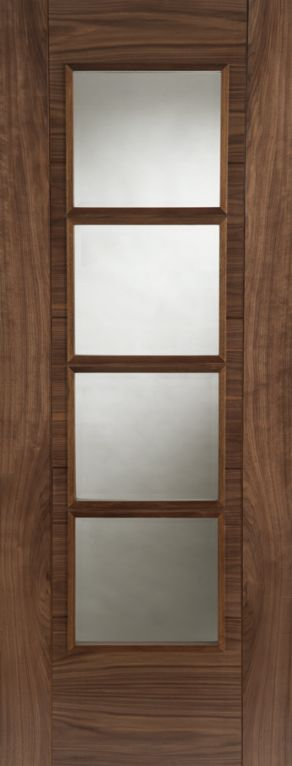 Pre-finished Walnut Iseo SS 4light Central Glazed 35x1981x838mm