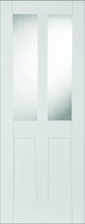 White Primed Shaker 2panel/2light Glazed