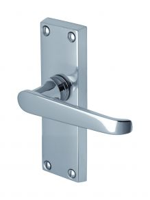 Victoria Lever Latch Handle on Short Plate in Polished Chrome