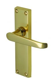 Victoria Lever Latch Handle on Long Plate in Polished Brass
