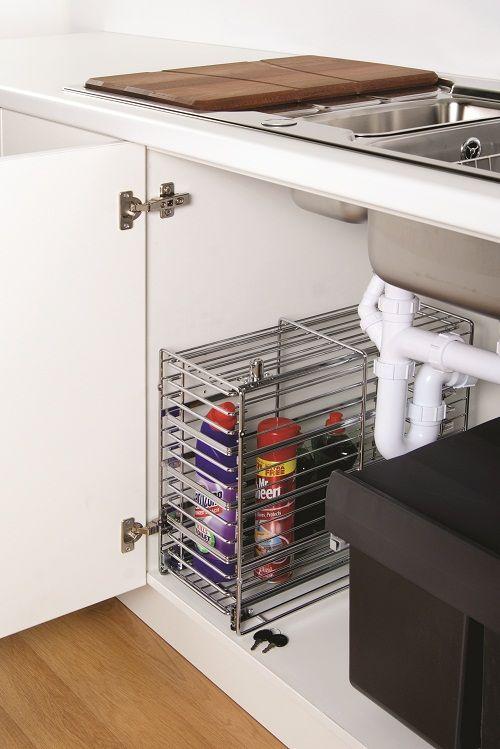Under Sink Lockable Detergents Basket Safety Storage