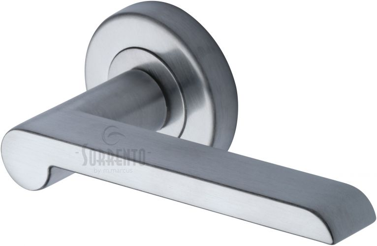 Lugano lever on rose handle in satin chrome