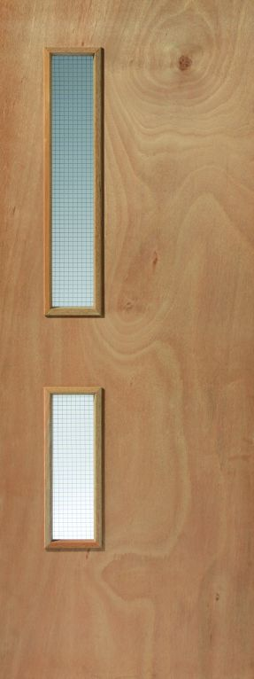 JB Kind Plywood Flush Firedoor with 2 glazed openings