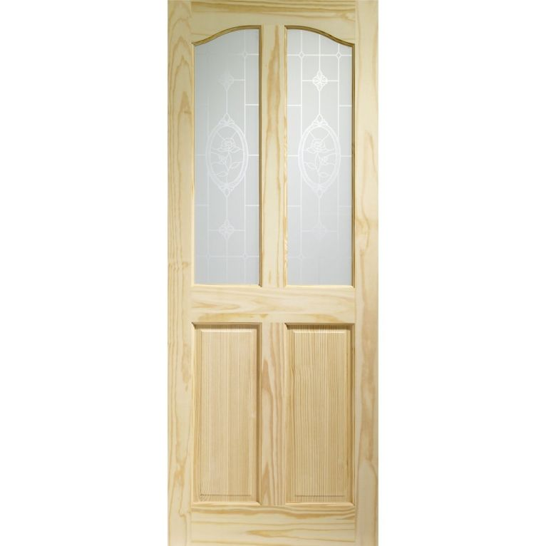 XL Rio 4 Panel Internal Pine Door with Crystal Rose Glass